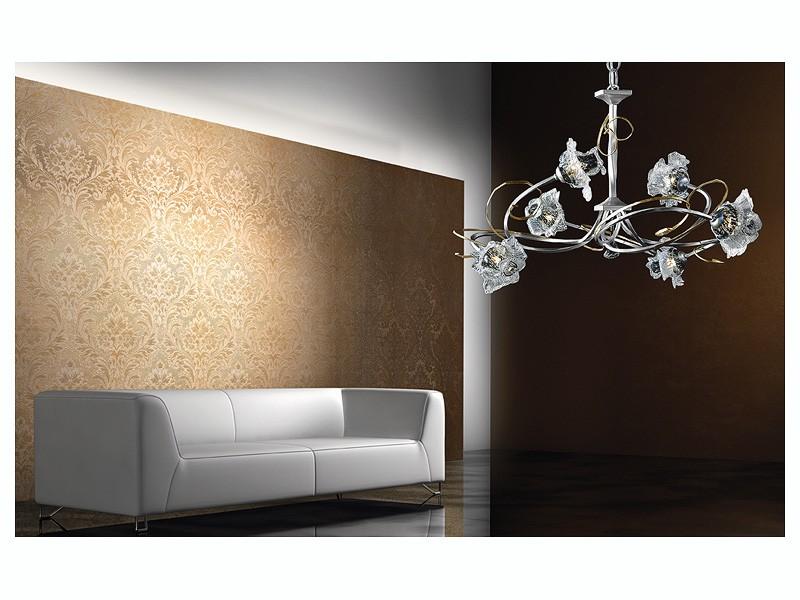 Rose chandelier, Lámpara moderna con estructura de hierro forjado a mano