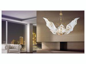 Sirio hanging light, Lámpara con difusores en cristal de Murano decorado con hojas