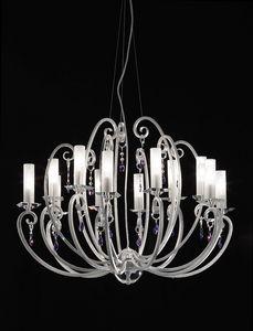 Valentina ceiling lamp, Candelabro de 12 brazos, de Bobeches y colgantes de cristal
