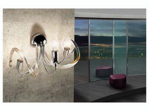 Vanity applique, Lámpara de pared en latón, difusores de vidrio de alambre