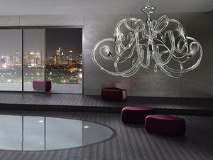 Vanity chandelier, Araña de latón, formas voluptuosas de difusores de vidrio