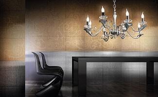 Varsailles chandelier, Lámpara con 8 luces, hoja decorada detalles