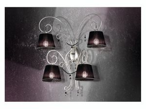 Venezia applique, El hierro forjado apliques con 4 luces y collares preciosos