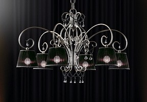 Venezia chandelier, Araña de hierro forjado a mano, collares de cristal de Murano