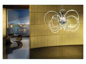 Vogue chandelier, Lámpara colgante en latón con difusores de cristal