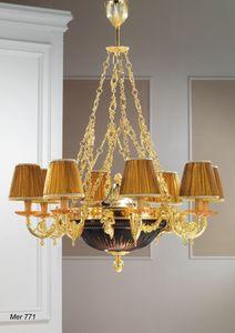Art. MER 771, Araña hecha en latón chapado en oro de 24 quilates y cuenco de cristal