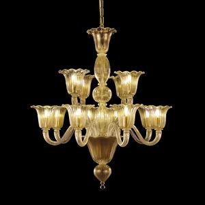 Bellepoque LE0364-8+4-K, Araña de cristal con luces escalonadas