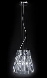 CIRCLE Ø 32, Lámpara colgante con colgantes de cristal transparente