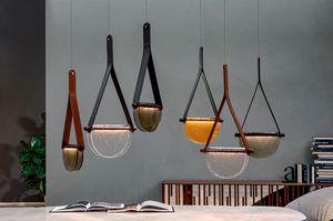 DALÌ, Lámparas de madera maciza, vidrio fundido. y soporte de cuero