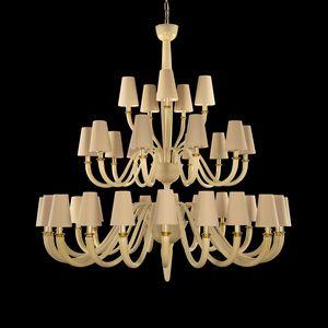 Dandy DP0354-20+10+5-VAW, Araña con pantallas de lámparas de algodón, en cristal de Murano