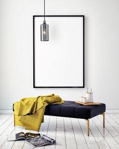 Ebe, Lámpara de suspensión con difusor de cristal ahumado gris.