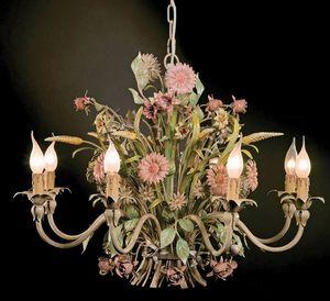 L.3521/8, Araña con decoraciones florales en hierro forjado