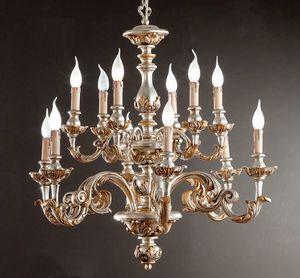 L.7445/6+6, Araña con decoraciones en plata y oro puro