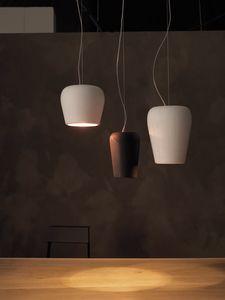 La lun, Lámpara colgante en cerámica grabada a mano