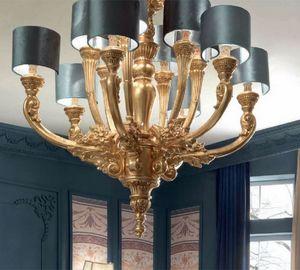 Luigi XVI Art. LAM03/12L, Araña elegante con acabado dorado