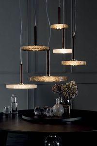 MACRABÈ Lámparas, Lámparas de madera maciza y vidrio fundido.