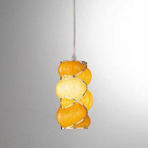 Orione Rs384-020, Lámpara de suspensión en vidrio soplado naranja o rosa