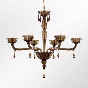 Portofino L0356-6-F2, Lámpara de cristal veneciana con gotas colgantes
