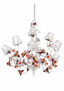 Rose LA/9, Araña con flores decorativas en cristal de Murano