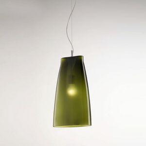 Seppia Ls623-045, Lámpara de vidrio soplado, en acabado verde oliva satinado