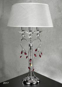Art. 2017 Soiree, Lámpara de mesa realizada en latón cromado con cristal y pantalla