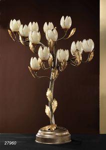 Art. 27960 Fior di Loto, Lámpara de mesa hecha en latón y vidrios soplados hechos en Murano