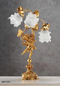 Art. MER 553, Lámpara de mesa con rosas de cristal de Murano