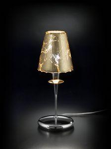 OPERA H 35, Lámpara de mesa con pantalla en pan de oro
