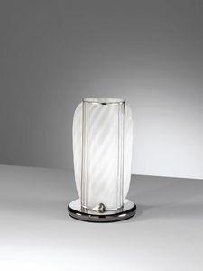 Orione Rt389-020, Lámpara de mesa artesanal en cristal blanco