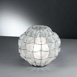 Pouff Rt383-035, Lámpara de mesa en vidrio grabado al agua fuerte en el interior