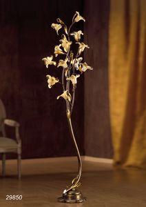 Art. 29820 Jolie, Lámpara de pie con decoraciones florales de vidrio