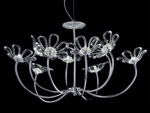 Daisy araña, Lámpara con estructura de metal cromado, difusores de vidrio