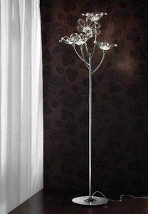 Daisy de pie, Lámpara de pie en metal cromado con difusores de cristal