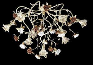 95609, Lámpara de techo con flores decorativas
