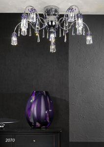 Art. 2070 Orion, Lámpara de techo en latón cromado y cristal