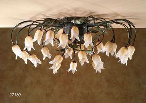 Art. 27160 Butterfly, Lámpara de techo con flores de cristal de Murano