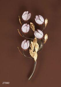 Art. 27990 Fior di Loto, Lámpara de pared con flores de cristal rosa