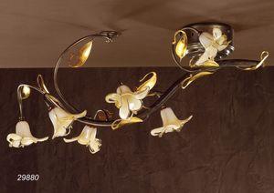 Art. 29880 Jolie, Lámpara de techo clásica en vidrio y latón