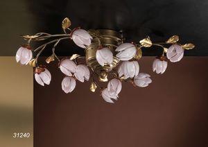 Art. 31240 Fior di Loto, Lámpara de techo artesanal con flores