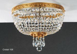 Art. CRISTAL 106, Lámpara de techo en latón dorado con colgantes de cristal