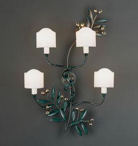 OLIVO HL1095WA-4, Lámpara de pared en hierro y latón verde pulido