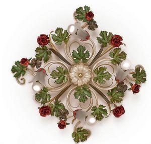 PL.5255/4, Lámpara de techo con 4 luces, con hojas y rosas