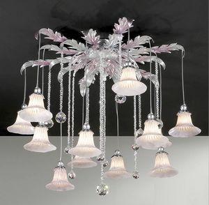 PL.7665/12, Lámpara de techo con colgantes de cristal
