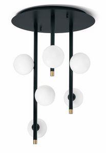 Pomì, Lámpara de techo con esferas de cristal blanco.