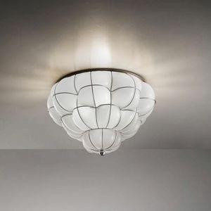 Pouff Rc383-035, Lámpara de techo en vidrio ámbar o blanco