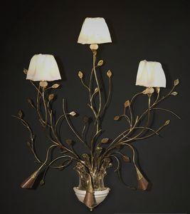 RAMI HL1008WA-3, Lámpara de pared en hierro trabajado con hojas decorativas