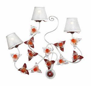 Rose AP/3, Lámpara de pared con adornos de cristal de Murano