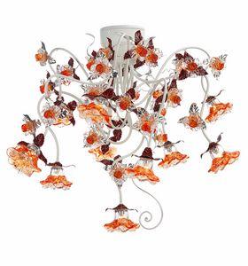 Rose PL/10, Lámpara de techo con adornos de vidrio
