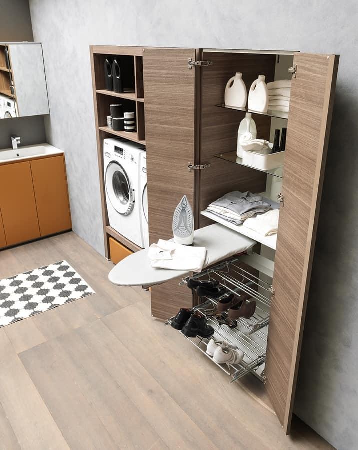 Mueble lavadero con tabla de planchar lavabo y espejo for Mobiliario lavadero