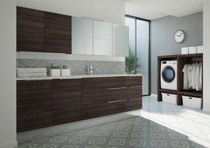 Spazio Time comp.08, Mueble lavadero con lavabo integrado